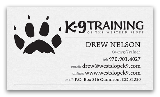 K9 Training of the Western Slope Business Card